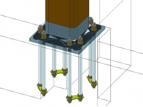 日立機材、鉄骨造の角管露出柱脚工法 改良型発売