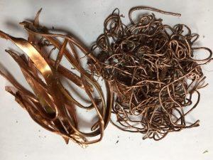 トランスから回収した銅