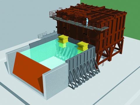 日立造船、堺に動作確認設備 陸上フラップゲート防潮堤
