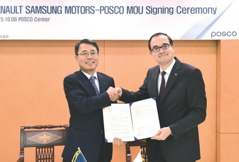 POSCO、ルノーサムスン 協力関係を強化 素材安定供給 技術開発深める