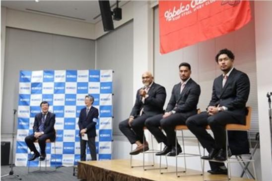 神戸製鋼、ラグビーW杯代表選手が凱旋報告会 「ONE TEAMで一丸に」